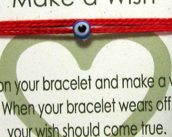 Friendship Bracelet Red String Red Kabbalah Make a Wish Evil Eye Bracelet Tiny Blue Eye TINY Evil Eye Wrap Around Thread Minimalist Bracelet
