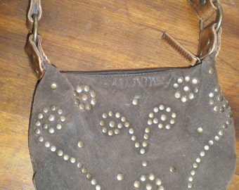 "Leather Hippie Bag/Purse Suede Leather ""Love In""  70s Style Distressed Leather With Metal Studs And Shoulder Strap"