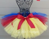 SNOW WHITE- Yellow, Blue, and Red baby/child tutu with hairbow:  Newborn-5T