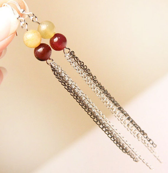 Cranberry Pink and Green Jade Earrings. Natural Stone Beads. Multi Chain Earrings.  Runway Fashion. Long Dangle Earrings