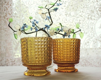 2 Antique EAPG Pattern Amber Glass Three Panel Spooners Sugar Bowls    SALE - was 48.00