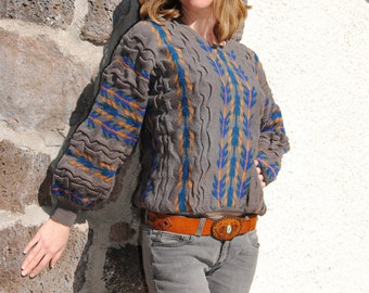 Vintage 1980's Sweater With Tribal Geometric Design, Saks Fifth Avenue