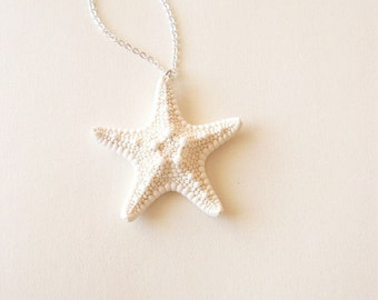 White Starfish Necklace Mermaid Jewelry Sea Star Charm Ariel Pendant Nautical Bridesmaid Ocean Beach Wedding Wife Womens Gift For Her Summer