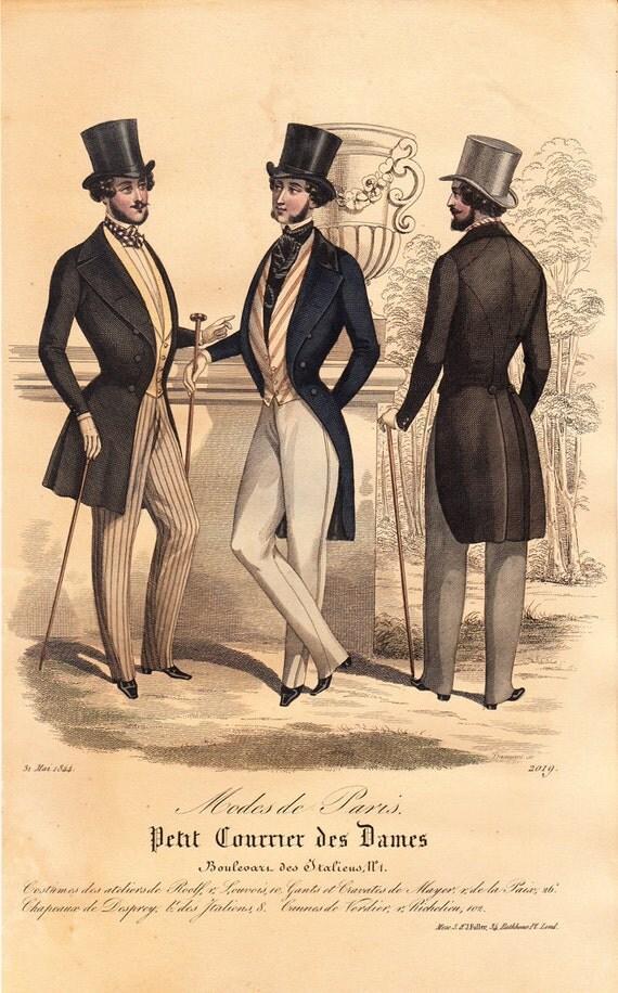 1844 antique victorian fashion lithograph jane eyre era for Miroir des modes prints