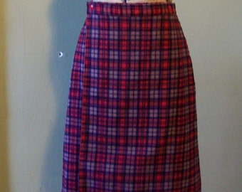 Vintage red plaid skirt wrap around cotton warm skirt red lining