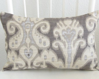 31446.1611 Kravet Ikat Ivory Gray Pillow Cover