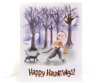 Halloween Card Boy Black Cat Ghost