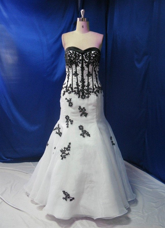 Black And White Wedding Dress Bridal Gown