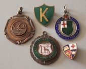 Set of Five Vintage Badges and Medals, includes 1930s Silver (925) and Enamel Medal, 1960s Tennis Medal and a School Badge