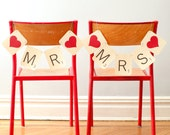 SCRABBLE Mr & Mrs Wedding Chair Signs, Banners - Photo Prop