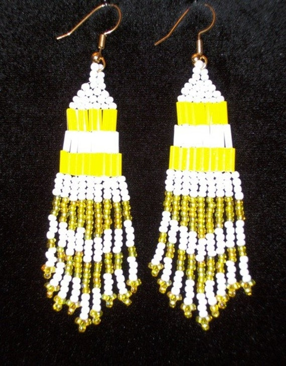 Glass Beaded Yellow & White Chandelier Earrings for Women Fashionable Spring Summer FUN