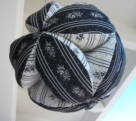 Cotton Fabric Clutch Ball in Black and White Cotton Fun Gift ideas