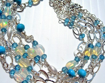 Triple Strand of Welo Opal and Tibetan Turquoise Necklace -- Free U.S. Shipping