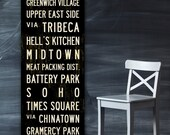 NEW YORK City Bus Scroll, New York Subway Sign, Vintage Tram Roll, Canvas Poster, Word Art. 20 x 60