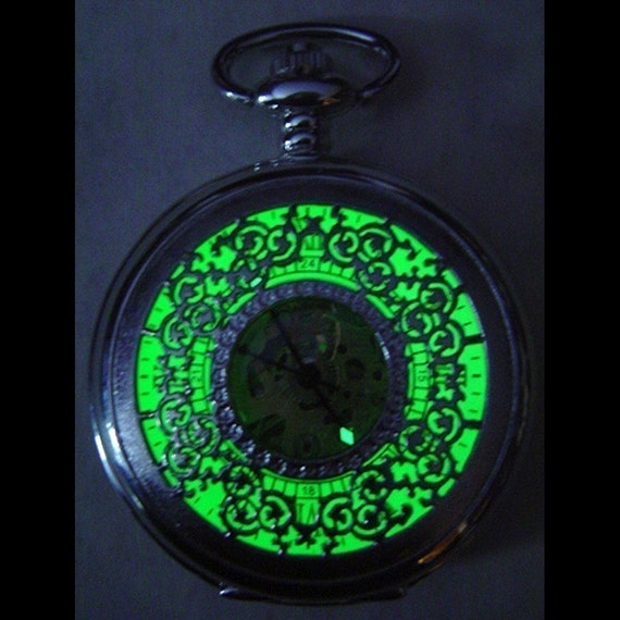 Steampunk Pocket Watch silver with Absinthe Glow face Necklace or Chain fob