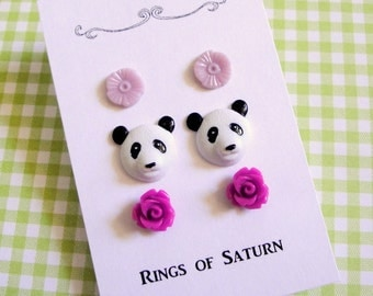 Purple Panda Stud Earring Set