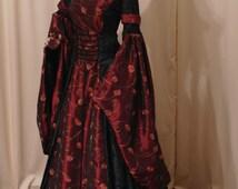 Halloween dress, renaissance dress, gothic wedding dress, custom made dress.