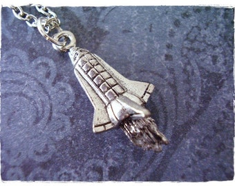 Silver Space Shuttle Necklace - Antique Pewter Space Shuttle Charm on a Delicate Silver Plated Cable Chain or Charm Only