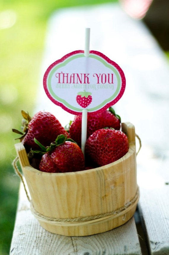 Strawberry Party PRINTABLES: Favor Tags (INSTANT DOWNLOAD) by Love The Day
