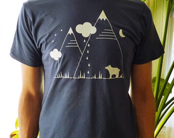SALE! Bear Mountains Camping T-Shirt Navy Blue Mens/Unisex