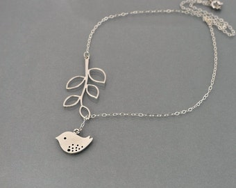 Bird Necklace, Branch Lariat, sterling silver chain, delicate leafy, dove, everyday jewelry, wedding gift,  by balance9