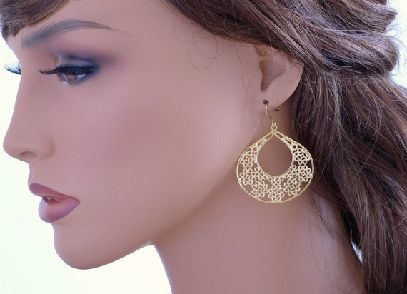 Large filigree earrings, Gold drop earrings, lightweight boho dangle, everyday jewelry, holidays gift, by balance9