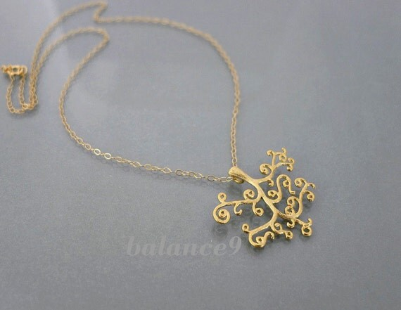 Gold Tree Necklace, delicate magic tree jewelry, tree of life charm pendant, holidays gift, christmas gift, by balance9