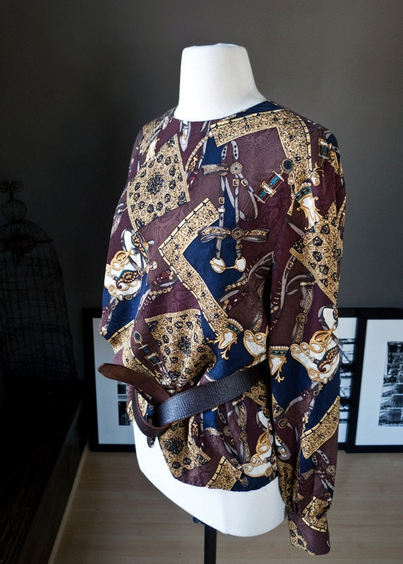 Gold digger... vintage long-sleeve silk blouse