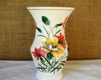 MID CENTURY Milk Glass Vase Made in Czechoslovakia Antique Hand Painted Milk Glass Vase Vintage Art Vase Mid Mod Decor Flower Vase