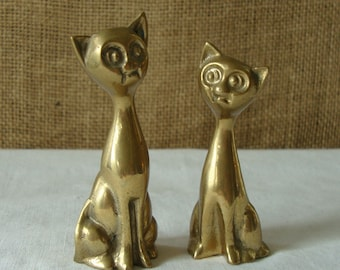 VINTAGE BRASS Cats  2 Brass Cats - Made in India