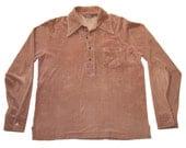 Vintage ARROW Half Button Long Sleeve Light Cotton-Polyester Shirt L