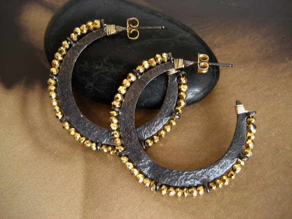 Sterling silver hoop earrings with golden pyrite - solid sterling silver