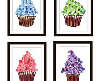 Kids Cupcake Art Set - Dots Cupcake Watercolor Paintings - Children's Wall Art - Set of 4 Cupcake Prints Wall Art, 8x10