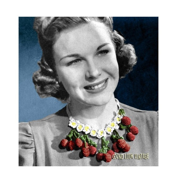 Vintage 1940s Crochet Pattern Cherry Flower Necklace Bib Collar Digital Download PDF