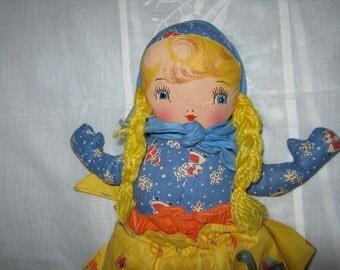 Georgene Cloth Doll DUTCH Girl Oil Cloth Face c.1940s By Gatormom13 Just REDUCED