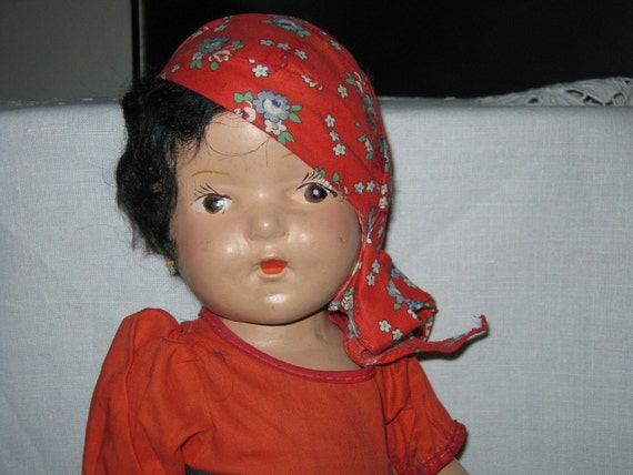 "Composition Doll  ""Rose"" From Hungary c. 1945 16 inches Tall By Gatormom13 Please Read Full Description"