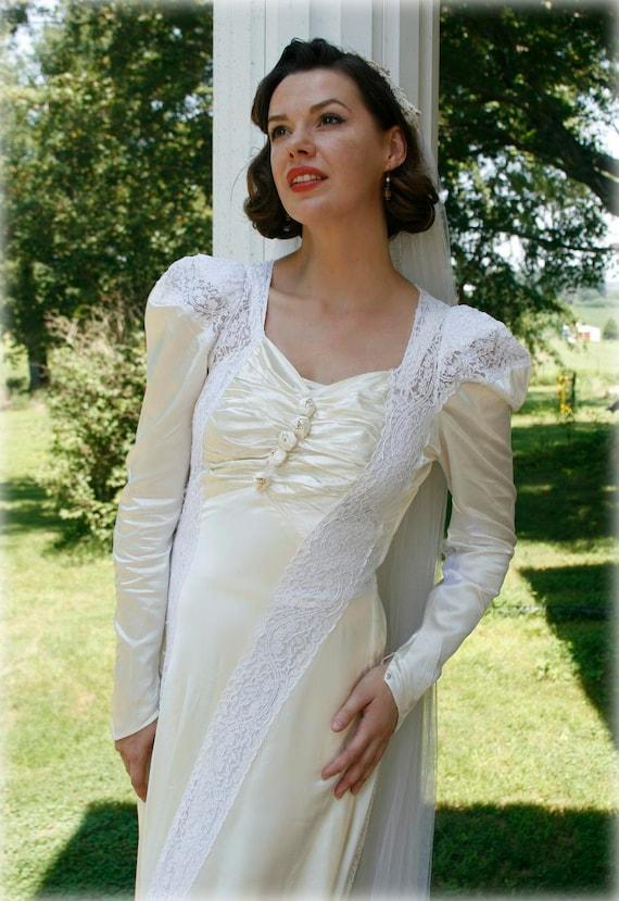 1940s Dress Silky Stars Vintage 40s Dress: Vintage 40s Satin Wedding Dress 1940s Bridal Dress By