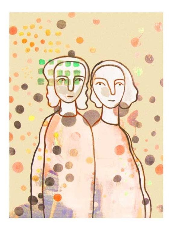Fine Art print Giclee Best Friends  twin Sisters sepia vintage look  beige cream dots spots mother daughter