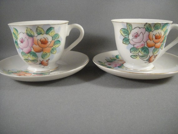Tea for Two, Teacups and Saucers Floral Design Made in Japan