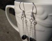 Black Beaded Chain Earrings