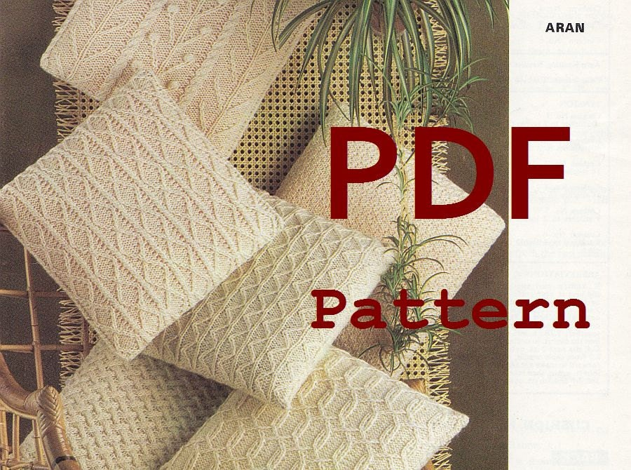 Aran Pillow Knitting Pattern PDF Instant by PaperButtercup