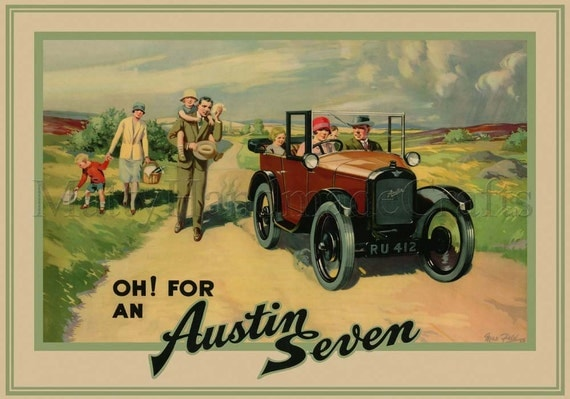 Austin Seven, Vintage Illustration 1930s Print from an Original Advertising Poster