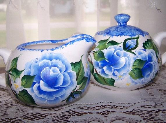 Painted Blue Roses Cream & Sugar Set