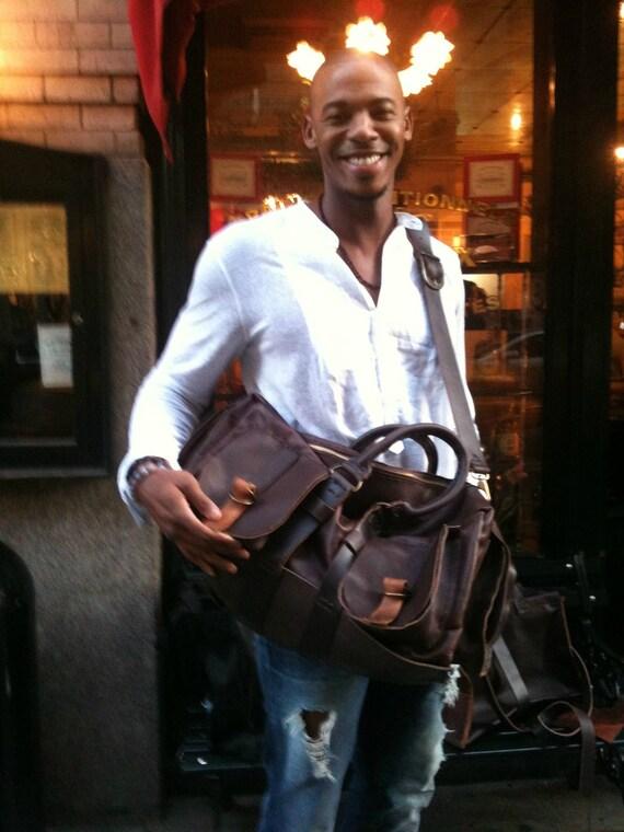 Mehcad travel bag, large leather travel bag, handmade leather bag, leather travel accessories, made for Mehcad Brooks by Aixa bag maker