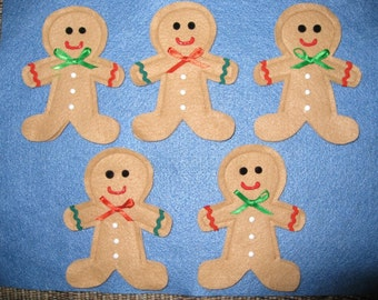5 Gingerbread Men Finger Puppets