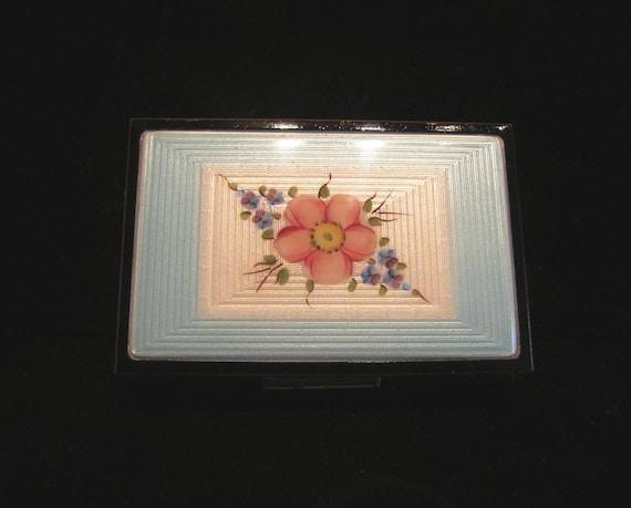 Vintage Elgin American Guilloche Cigarette Case 1930's Cigarette Case Enamel RARE EXCELLENT CONDITION