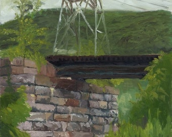 Railroad Trestle, framed oil painting on panel, 8 x 10