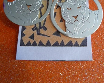 tiger earrings , tiger handmade silver earrings , nature jewelry, wildlife jewelry, gift ideas , accessories african , totem animal tigers