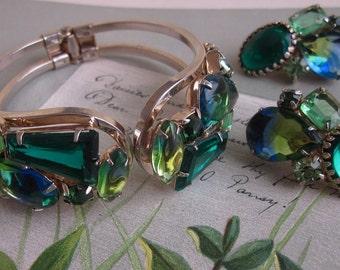 JULIANA Large Green Stone Clamper Bracelet & Clip On Earrings Set