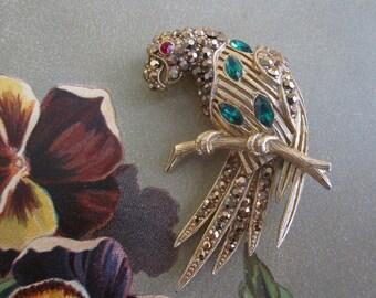 THELMA DEUTSCH Gold & Green Rhinestone Parrot Brooch
